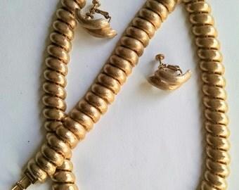 Necklace Earrings Bracelet Set Signed Napier Gold Tone Wedding Jewelry Jewellery Gift
