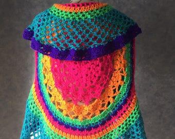 Circular Lotus Mandela Crocheted Vest - Small/Medium