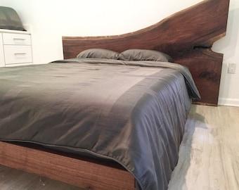 Live edge walnut platform bed