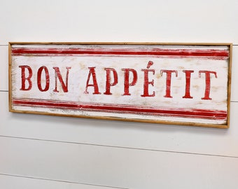 Bon Appetit Sign Wooden Farmhouse Kitchen Sign Framed French Country Decor French Cafe Decor