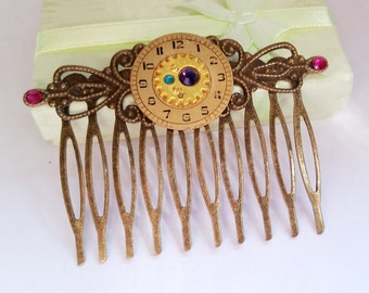 Gothic Steampunk Vintage Bronze hair accessory watch face clock gear cog crystal comb Israel Hand made