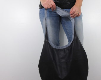 ready to ship black faux leather hobo bag. large shoulder purse that is clearance priced.