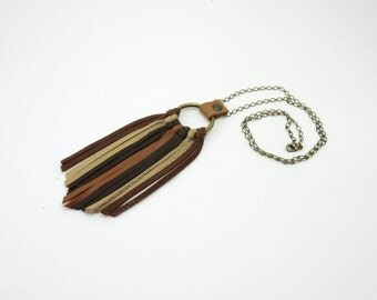 Earthy Leather Fringe Chain Necklace with Dark Brown, Red Brown, Terra Cotta, and Beige Leather Fringe Antique Brass Chain and Ring