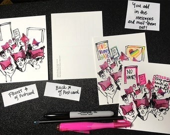 Set of 20 postcards: Women's March Postcards, Postcards for Democracy, Customizable Postcards, ALL PROFITS go to ACLU and Planned Parenthood