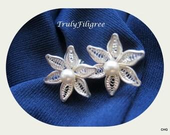 Handmade Sterling Silver Filigree Flower Earrings / Swarovski Pearls