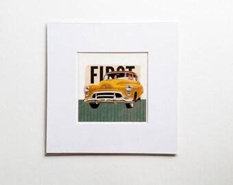 Original collage, vintage car collage, vintage paper collage