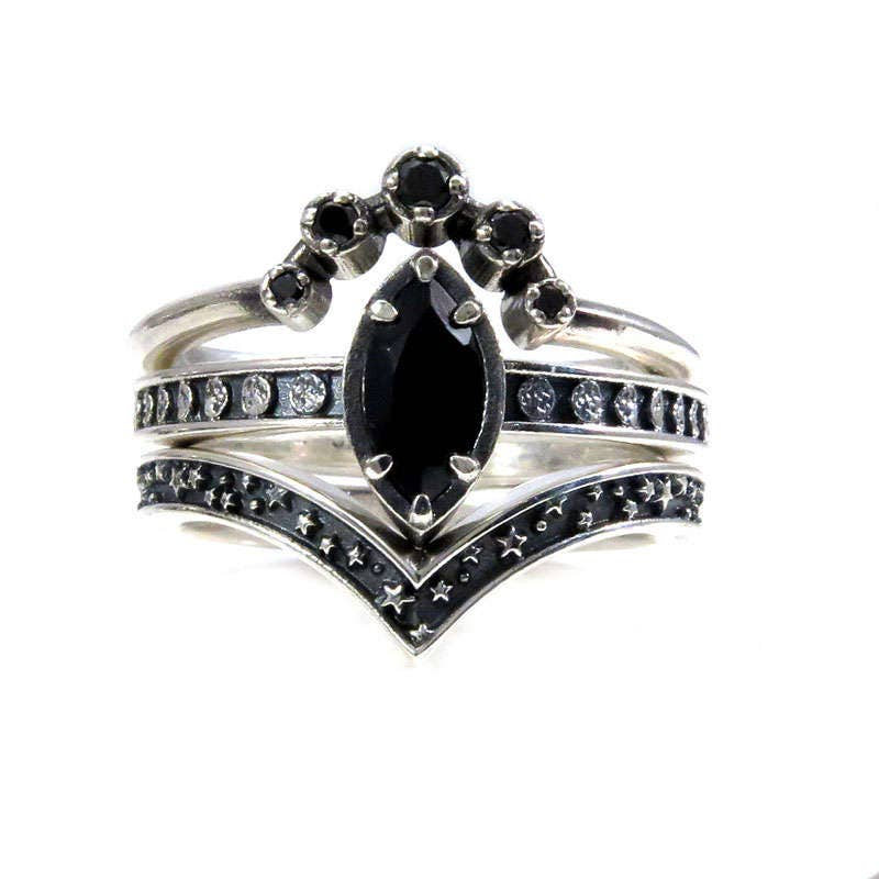 Black Spinel And Black Diamond Moon And Star Engagement Ring Set    Celestial Gothic Wedding Rings   Sterling Silver