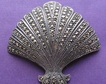 On Sale Vintage Sterling Silver Marcasite Scallop Shell Brooch Pin Jewelry