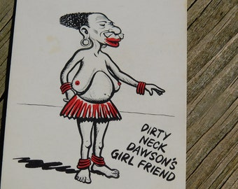 1950's 60's Original Magazine or Greeting Cards Risque Cartoon That reads Dirty Neck Dawson's Girlfriend