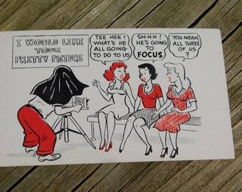 1950's 60's Original Magazine or Greeting Cards Risque Cartoon That reads I Would Like Your Pretty Picture