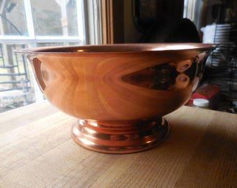 Vintage 1960s to 1970s Large Coppercraft Guild Bowl Metal Fruit Bowl Decor Pedistal Shiny Retro Decorative