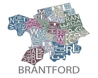 Typographic Map of Brantford, Ontario