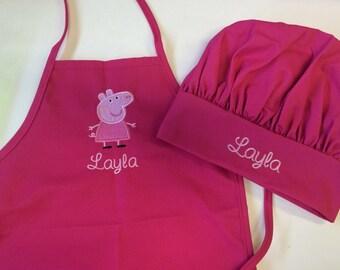 Personalized Kids Child Girls Kitchen Chef Hat Bakery Apron Pink Peppa Pig