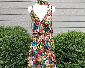 PREORDER - Social Butterfly Dress in Tropical Floral Print w/ Scarf Belt - Made in the USA - Tiki Luau Vintage Retro Beach Cruise Vacation