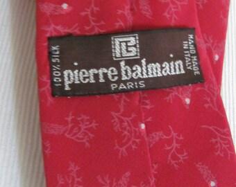 "Pierre Balmain Paris - Mens Solid Red Designer Silk Neck Tie 58"" Long"