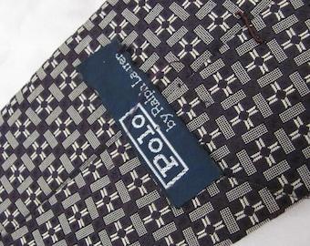 Polo by Ralph Lauren  - Mens Dark Burgundy Gray Geometric Silk Neck Tie