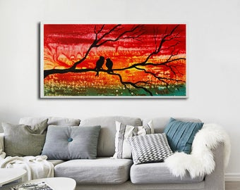 Abstract painting, Giclee, Birds print, colorful print, red art print, abstract red painting, love birds print, print on canvas, red birds