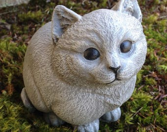 cat garden decor. Cat Statue, Chubby Kitty Cement Figure, Painted Feline Art, Concrete Garden Decor E