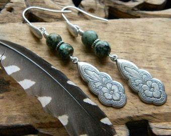 Bohemian earrings turquoise southwestern style jewelry cowgirl unique dangle earrings bohemian jewelry western boho