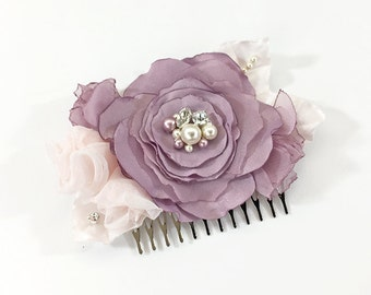 Vintage Lilac Hair Comb - Light Pink Fabric Flowers Embellished with Swarovski Sew on Crystals and Pearls for Bridesmaid, Special Event
