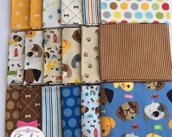 Rover Dog Park Puppy Riley Blake Novelty cotton quilt fabric FQ Fat Quarter Bundle of 18 #FQ-5210-18