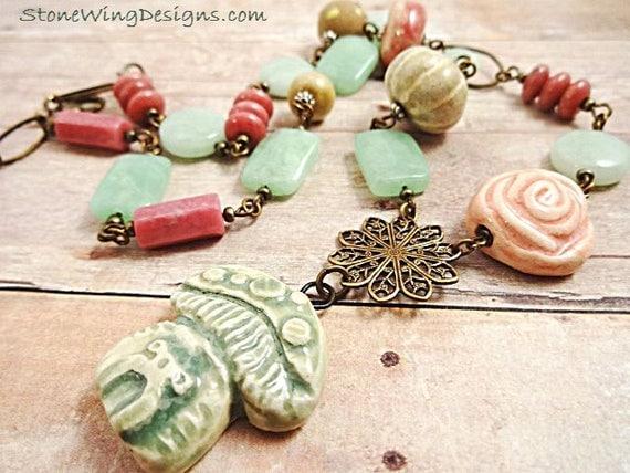Rustic Boho Mushroom Necklace in Pink and Green Gemstones