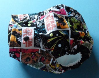 SassyCloth one size pocket diaper with Star Wars cotton print. Ready to ship.
