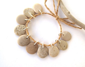 Rock Charms Drilled River Stones Mediterranean Diy Jewelry Natural Stone Pebble Charms Beach Stone Pairs TAN MIX 16-17 mm.