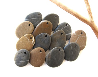 Flat Beach Stone Beads Mediterranean Pebbles Top Drilled Natural Stone Beads River Rock Diy Jewelry Making EARTHY FLAT LOT 24-32 mm