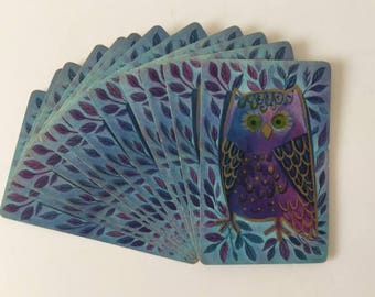 Mod Owls, Vintage Hallmark Playing Cards, Double Deck, Canasta Nocturnal