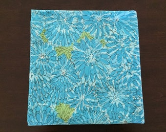 "Bright Blue Mod Flower Tablecloth, 50"" Square Topper, Flower Power"