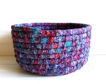 Fabric Coiled Basket, Colorful Storage Basket, Home Organization, Batik Fabric Purple Blue Magenta