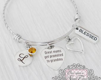 Grandma Bracelet, Great moms get promoted to grandma Charm Bracelet, Bangle Bracelet, Personalized Bangle- Personalized Birthstone Bracelet