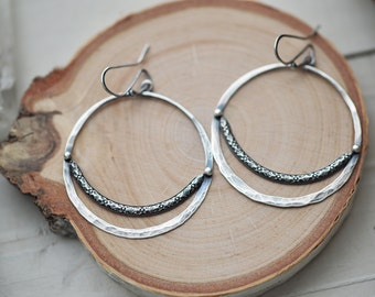 Unique silver hoops, artisan silver earrings, one of a kind earrings, statement earrings, sterling hoop earrings