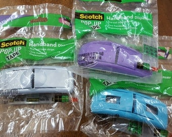 3 each Scotch 3M Pop-Up Tape Handband Dispenser 150 Pre-Cut Strips giftwrap one-hand dispensing refilllable craft tool purple silver blue