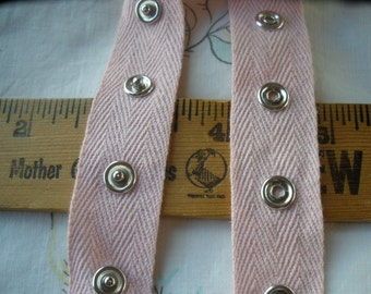 "Snap Tape Light Pink Cotton Twill silver metal 7/8"" wide BTY fasteners By the Yard cool hanger trim crafts 1"" spaced 5/16"" 12L snaps"