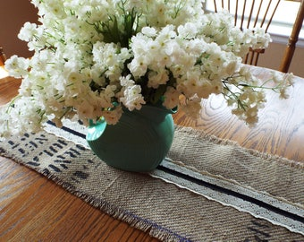 Burlap Stamped Coffee Bag Table Runner Trimmed With Vintage Lace and Ribbon