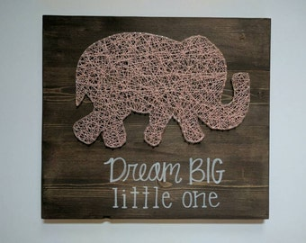 Made to order elephant string art with quote