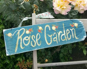 Rose sign,Rustic sign,Rose garden sign,roses,handpainted sign,cottage decor,rustic home decor,shabby,pink,garden wall art,vintage home sign