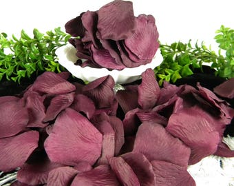 500 Deep Plum Rose Petals / BULK / Artificial Flower Silk Petals / Plum Wedding Decoration Flower Petals / Tossing Petals