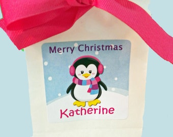 Personalized Penguin Girl Christmas Gift Tags Printable or Printed with FREE SHIPPING - Penguin Girl