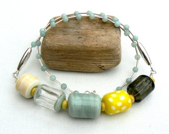 Handmade Hollow Lampwork and Amazonite Necklace,Yellow and Pale Blue Lampwork Necklace,OOAK