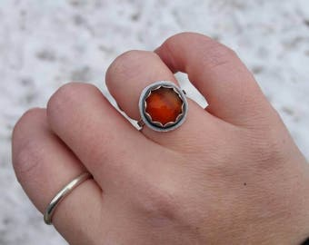 Handmade Red Carnelian Statement Ring, Sterling Silver Red Stacker Ring