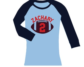 Personalized Football Birthday Shirt - cropped/long sleeve raglan shirt - any age and name - pick your colors!