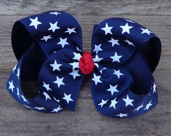 Fourth of July Hair Bow~Patriotic Hair Bow~Navy Blue Hair Bow~Large Boutique Bow~July 4th Hair Bow~Large Boutique Hair Bow~Military Hair Bow