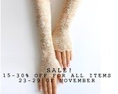 SALE! Nude lace gloves, wedding lace gloves, white gloves, long lace gloves FREE SHIPPING