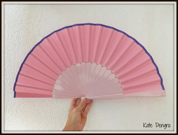 Baby Pink and Purple Supersize Pericon Hand Fan Wood Fabric Large Flamenco Handheld Fand From Spain