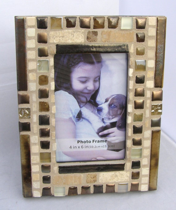 Copper stone frame 4 x 6 frame metallic frame unisex for Masculine rustic decor