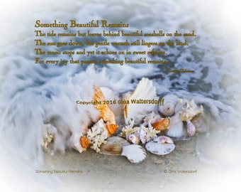 Something Beautiful Remains poem healing sympathy seashells ocean waves neutral colors nature fine art collage Gina Waltersdorff