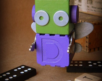 Robot Ornament - Green & Purple Bug (Small) - D Bot - Upcycled Ornament - Hanging Decor by Jen Hardwick